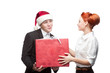 business people giving red christmas gift