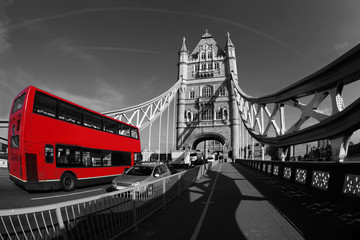 Tower Bridge with double decker in London, UK