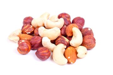 hazel-nuts and almond and peanut