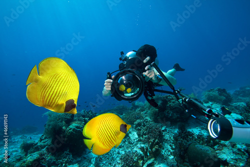 Underwater Photographer scuba diving with camera  in Red sea - 46691143