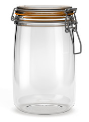 Bocal hermétique en verre sur fond blanc 1