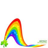 Abstract vector background with rainbow and lucky clover