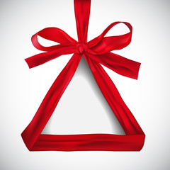 Illustration of triangle made of red ribbon