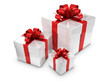 3d White Gift boxes with red bows and ribbons