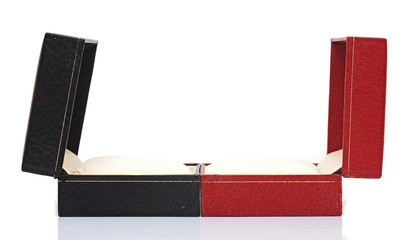 open black and red gift boxes over white background.