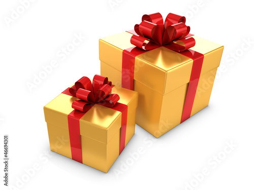 Two Gold Gift boxes with red bows and ribbons