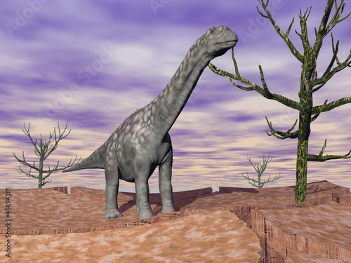 Argentinosaurus dinosaur in the wild