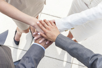 Businessman & Businesswomen Team Hands Together
