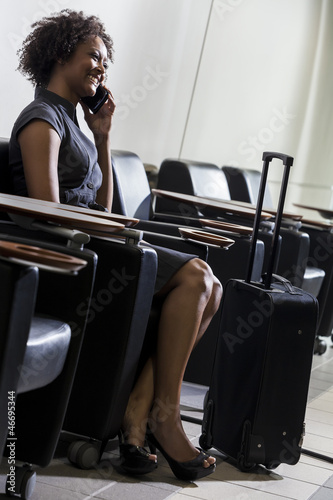 African American Woman Girl On Cell Phone Airport