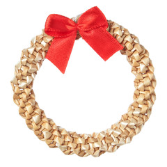 Straw decorative Christmas wreath and red bow.