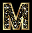 M gold letter with swirly ornaments vector