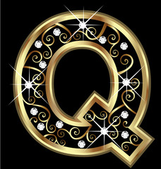 Q gold letter with swirly ornaments vector