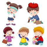 illustration of characters kids cartoon.Vector