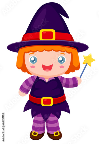 illustration of witch cartoon.Vector