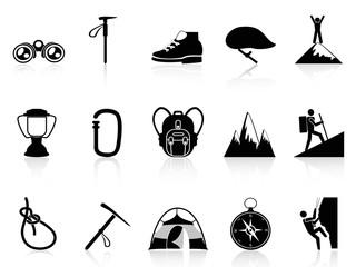 climbing mountain icons set