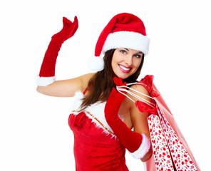 Christmas santa Shopping woman.