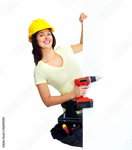 Young smiling contractor woman.