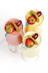 Blended smoothy cocktails made from fresh fruit