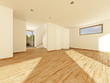 Einfamilienhaus Leerstand Wohnzimmer Treppe Küche 3D