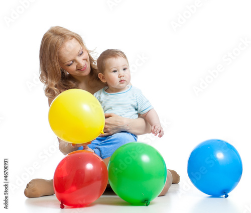 cute mother and baby having fun