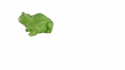 Stop motion Frog moneybox whith dollars going in it
