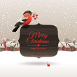Bullfinch with ashberries on signboard with Christmas greeting