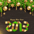 Happy 2013 new year - holidays illustration with golden decor