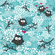 Winter seamless pattern with owls and snow.