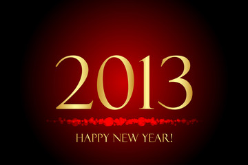 "Vector red and gold ""Happy New Year"" background"