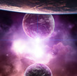 Planet with violet nebula and rising Star