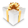 3d White Gift box with gold bow and ribbons