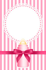 Vector pink background with baby bottle