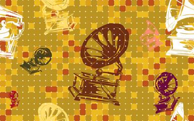 Autumn Seasoned Vivid Antique Gramophone Funky Seamless Tile