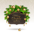 Wooden banner with Christmas golden decoration