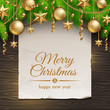 Banner with greeting & Christmas tree branches with decor