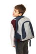 Student boy looking over shoulder