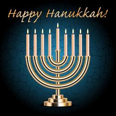 "Vector ""Happy Hanukkah!"" turquoise wish card with Hanukkah Menor"