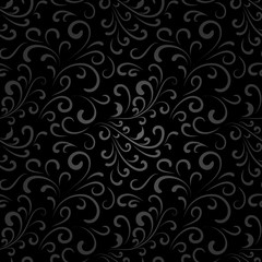 Abstract black floral seamless pattern