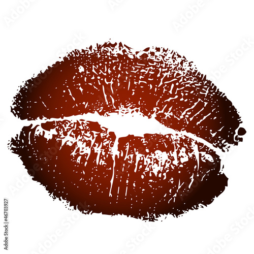 Vector illustration of brown kiss print