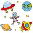 Iconos sobre el espacio.
