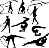 rhythmic gymnastics - silhouette poster