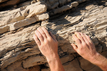 Rock climber, detail of hands