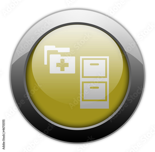 "Yellow Metallic Orb Button ""Medical Records"""