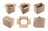Set of cardboard boxes with clipping path