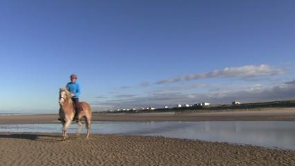 au trot sur la plage