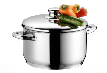 staniless steel casserole with small vegetables
