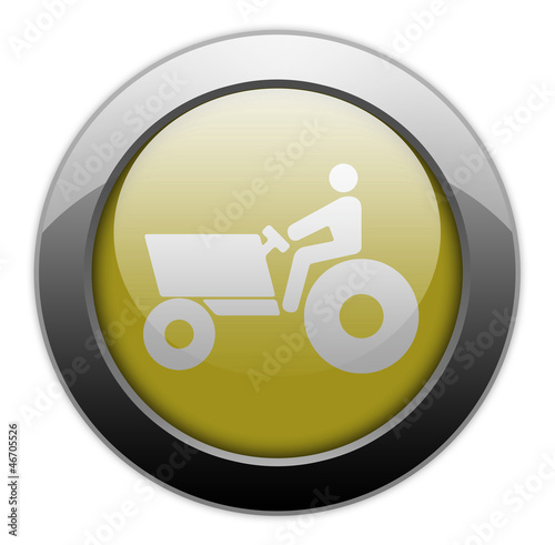 "Yellow Metallic Orb Button ""Tractor"""