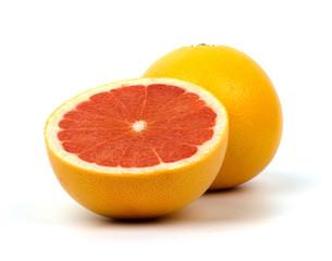 Grapefruit sliced on white background