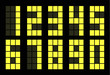 Set of yellow digital number