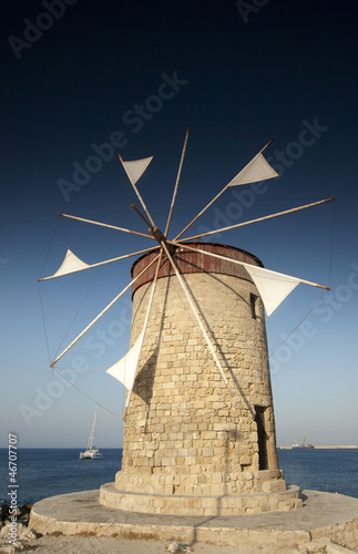 Mandraki Harbour windmill on the Island of Rhodes Greece